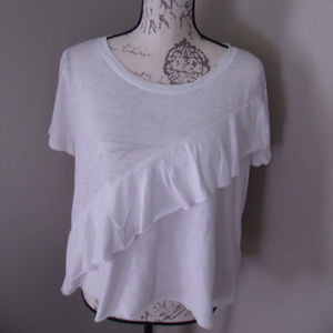 Hollister White Ruffle T-Shirt NWT LARGE